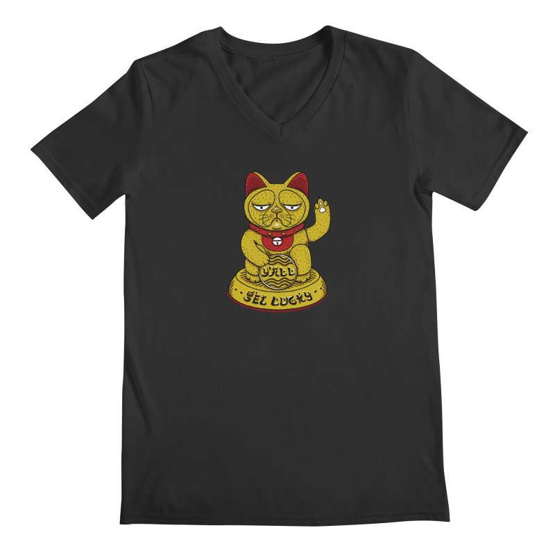 Lucky Cat Men's Regular V-Neck by YaaH