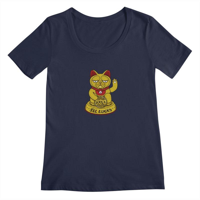 Lucky Cat Women's Regular Scoop Neck by YaaH