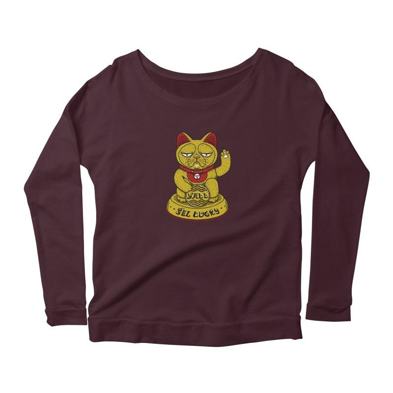 Lucky Cat Women's Scoop Neck Longsleeve T-Shirt by YaaH