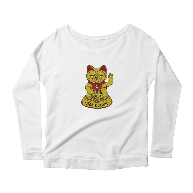 Lucky Cat Women's Longsleeve Scoopneck  by YaaH