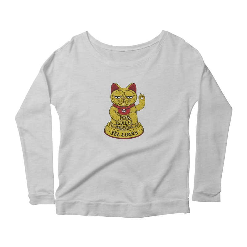 Lucky Cat Women's Scoop Neck Longsleeve T-Shirt by YaaH