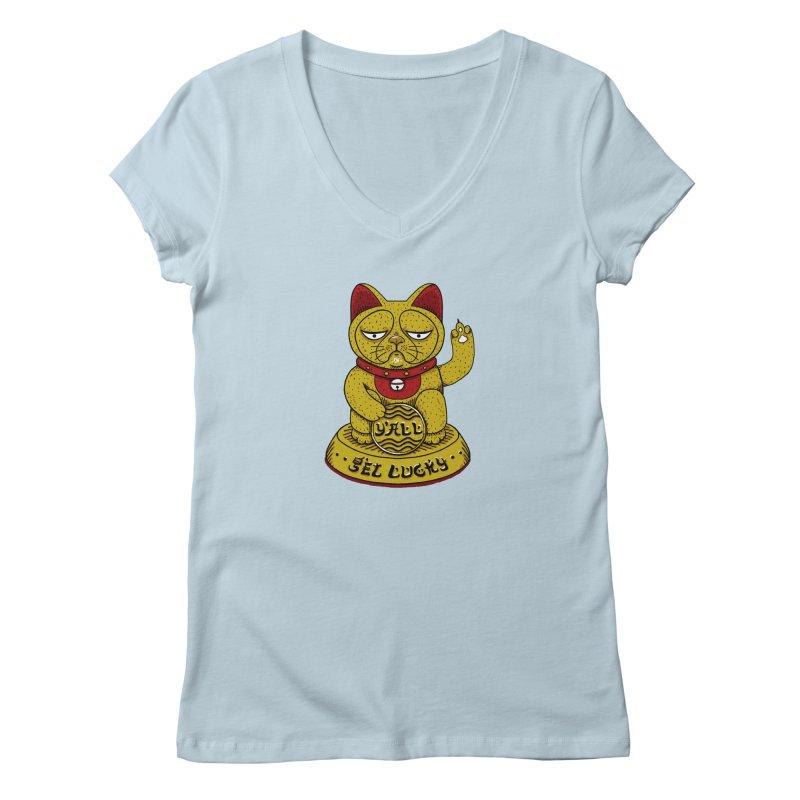 Lucky Cat Women's V-Neck by YaaH
