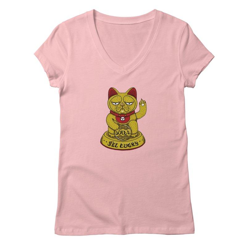 Lucky Cat Women's Regular V-Neck by YaaH