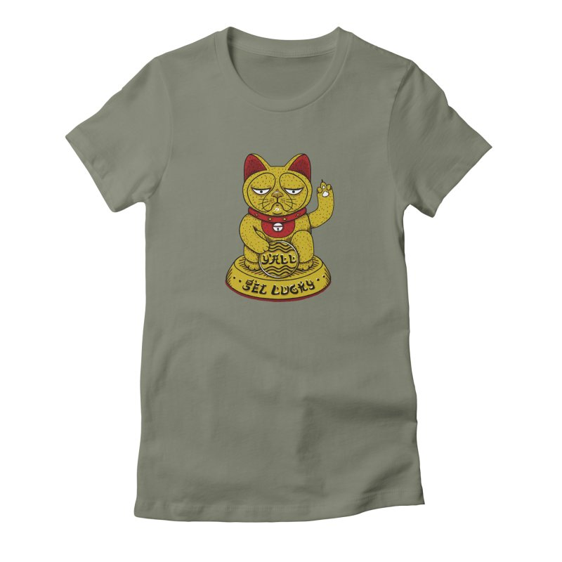 Lucky Cat Women's Fitted T-Shirt by YaaH