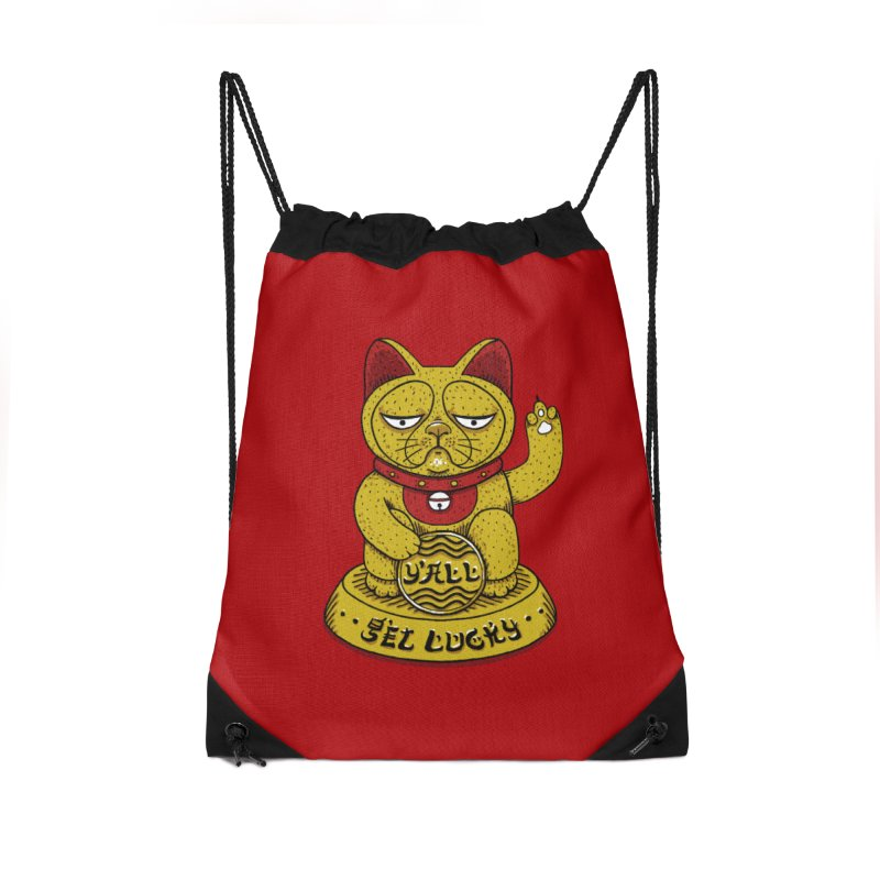 Lucky Cat Accessories Drawstring Bag Bag by YaaH