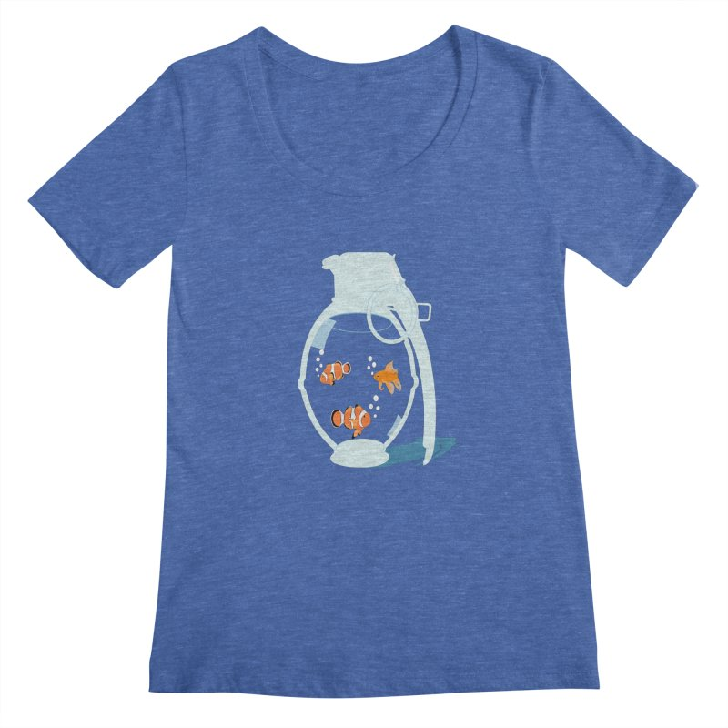 Fish Grenade Women's Scoopneck by yakitoko's Artist Shop