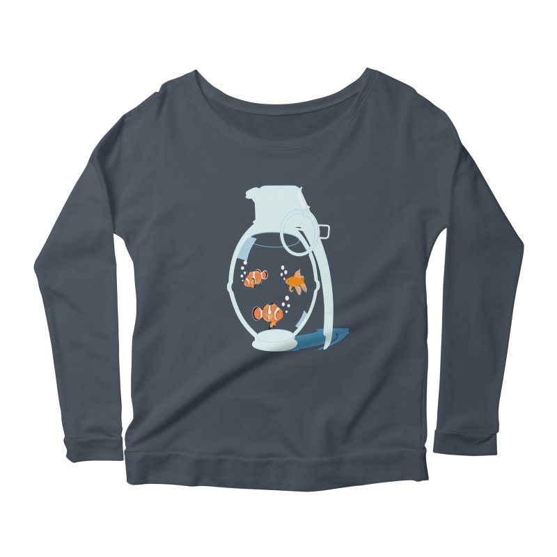 Fish Grenade Women's Longsleeve Scoopneck  by yakitoko's Artist Shop