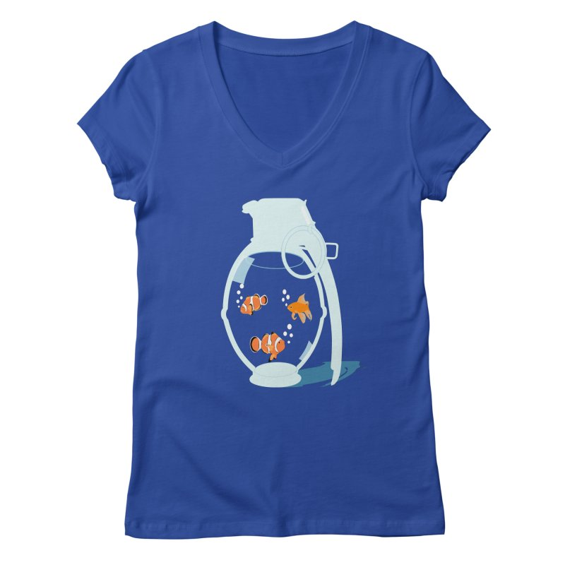 Fish Grenade Women's V-Neck by yakitoko's Artist Shop