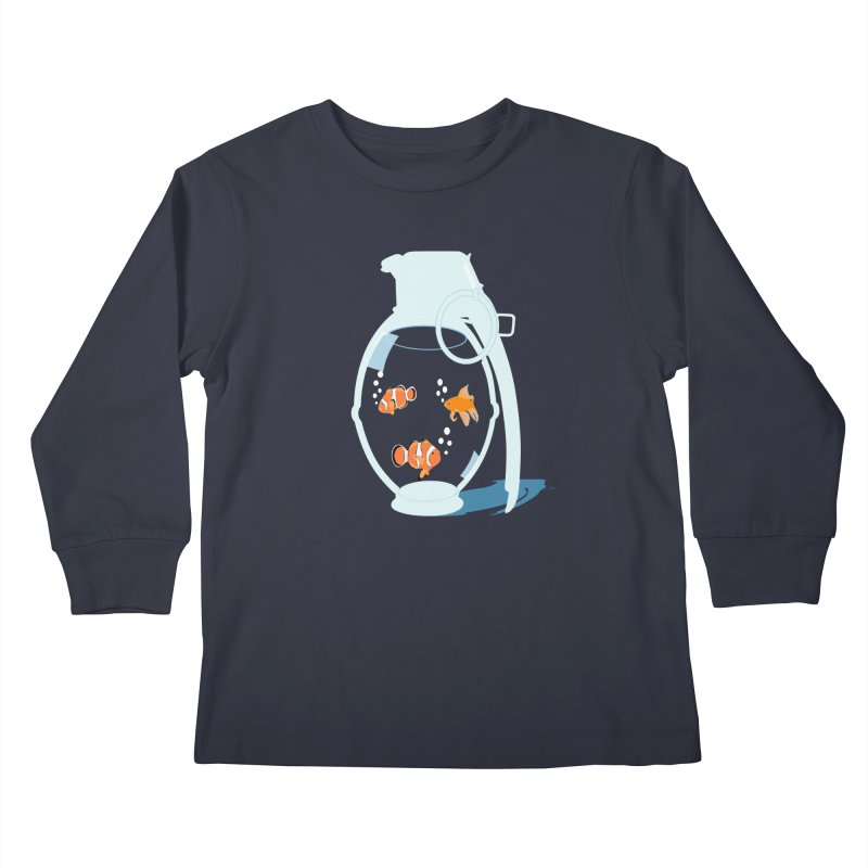 Fish Grenade Kids Longsleeve T-Shirt by yakitoko's Artist Shop
