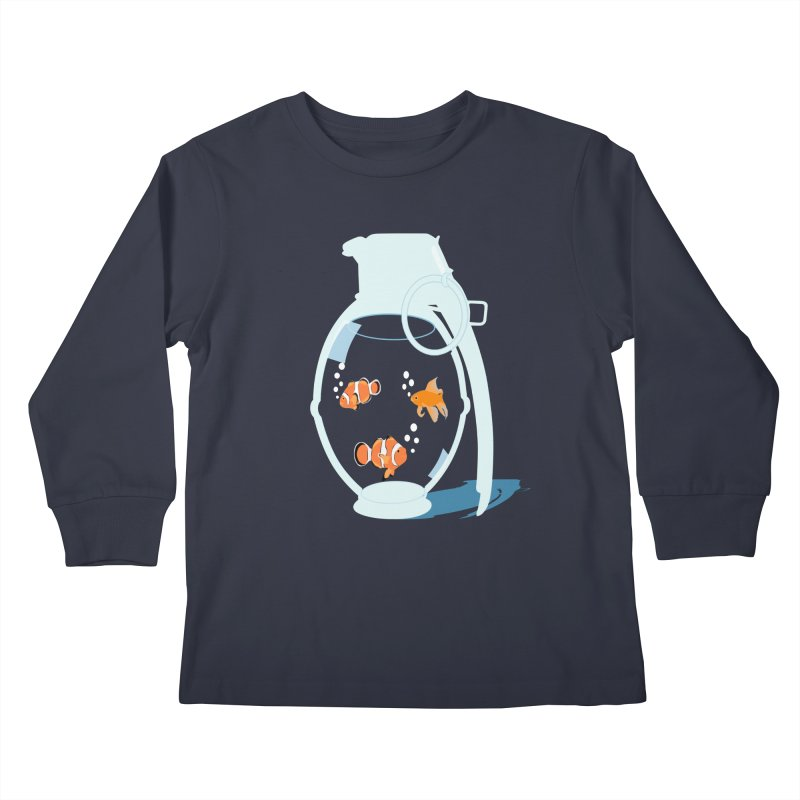 Fish Grenade Kids Longsleeve T-Shirt by yakitoko's Artist Shop
