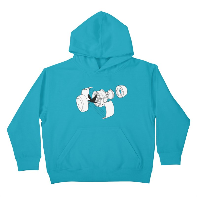Jet engine victim Kids Pullover Hoody by yakitoko's Artist Shop
