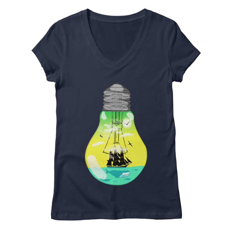 Sea travel Women's V-Neck by yakitoko's Artist Shop
