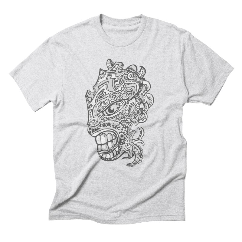 Indigenous Faces Design01 BW Men's Triblend T-Shirt by Art of YakyArtist Shop