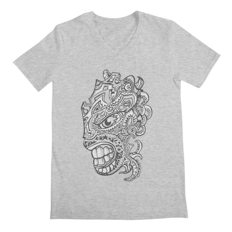 Indigenous Faces Design01 BW Men's V-Neck by Art of YakyArtist Shop