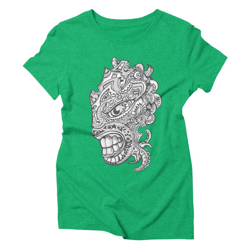 Indigenous Faces Design01 BW Women's Triblend T-Shirt by Art of YakyArtist Shop