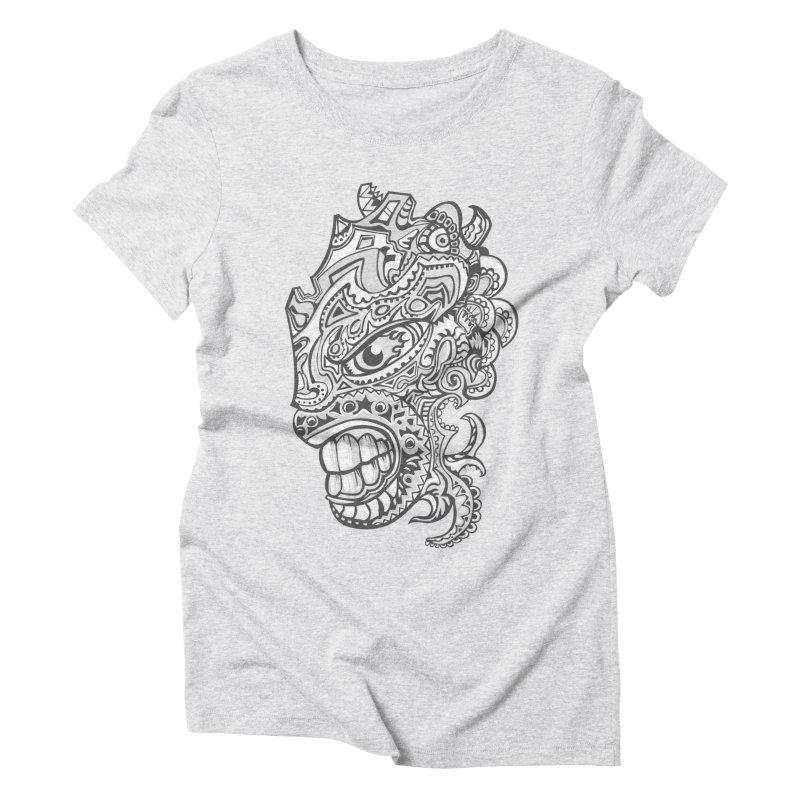 Indigenous Faces Design01 BW Women's Triblend T-Shirt by Art of YakyArtist Shop