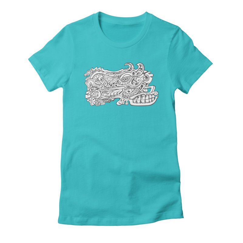 Indigenous Faces Design02 BW Women's Fitted T-Shirt by Art of YakyArtist Shop