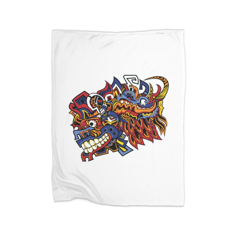 Indigenous Faces_Aztec Warrior Home Blanket by Yaky's Customs