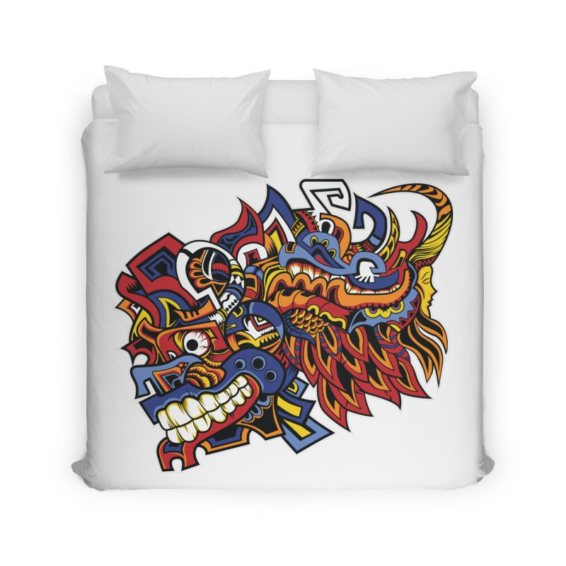 Indigenous Faces_Aztec Warrior Home Duvet by Yaky's Customs
