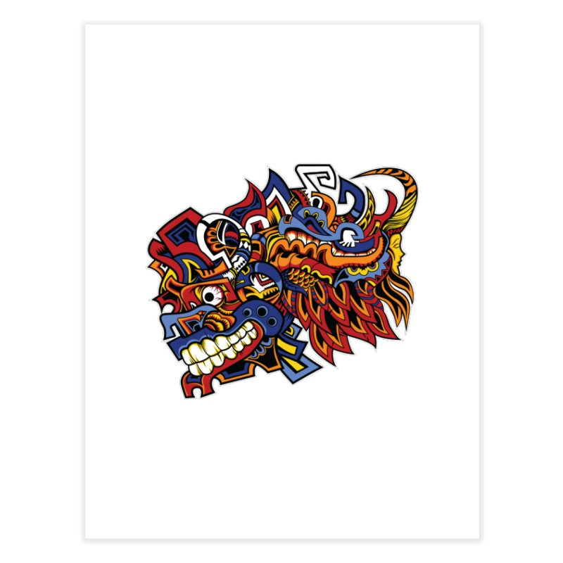 Indigenous Faces_Aztec Warrior Home Fine Art Print by Yaky's Customs