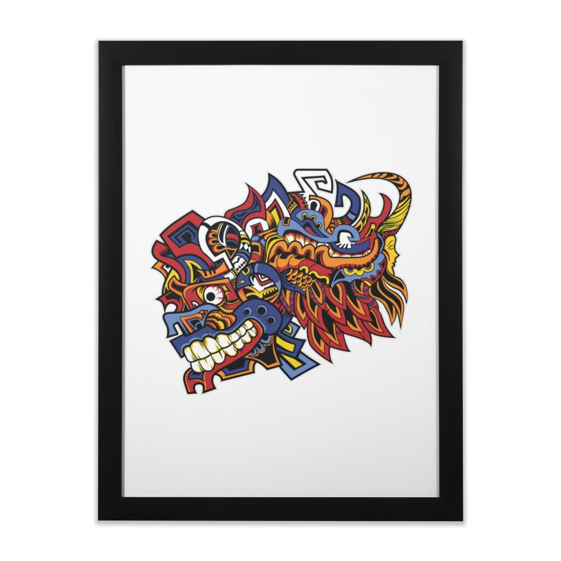 Indigenous Faces_Aztec Warrior Home Framed Fine Art Print by Yaky's Customs