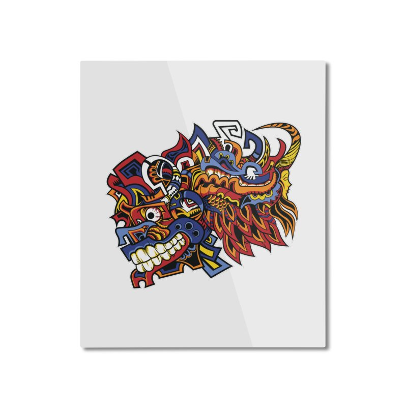Indigenous Faces_Aztec Warrior Home Mounted Aluminum Print by Yaky's Customs