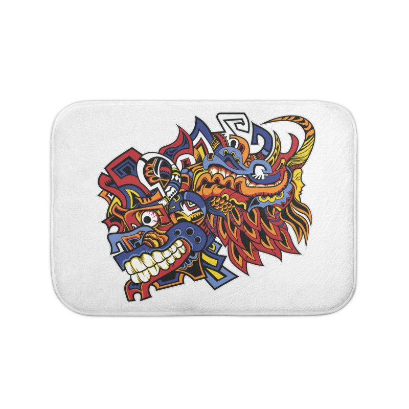 Indigenous Faces_Aztec Warrior Home Bath Mat by Yaky's Customs