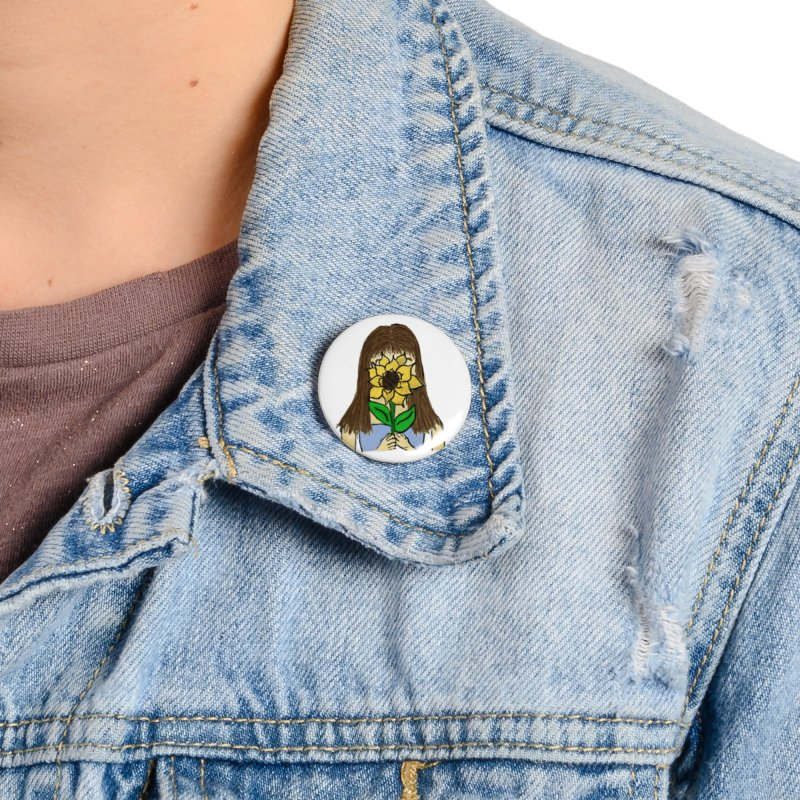 Sunflower Girl Accessories Button by Yaky's Customs