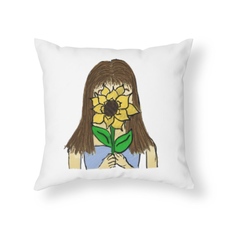 Sunflower Girl Home Throw Pillow by Yaky's Customs