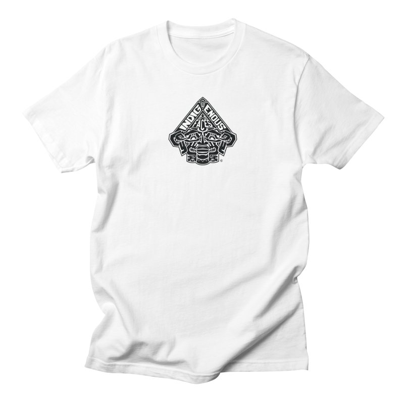 IndigenousFaces_Logo in Men's Regular T-Shirt White by Art of Yaky Artist Shop