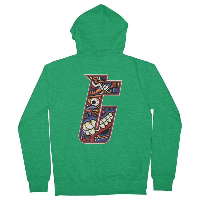 Crazy Face_T003 Men's French Terry Zip-Up Hoody by Art of Yaky Artist Shop