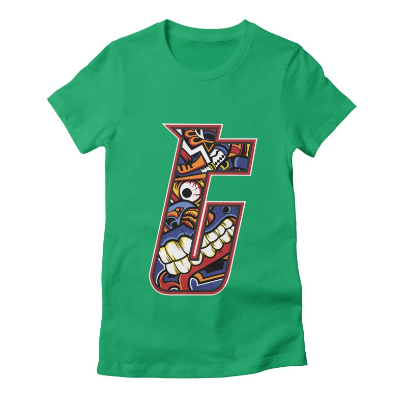 Crazy Face_T003 Women's Fitted T-Shirt by Art of Yaky Artist Shop