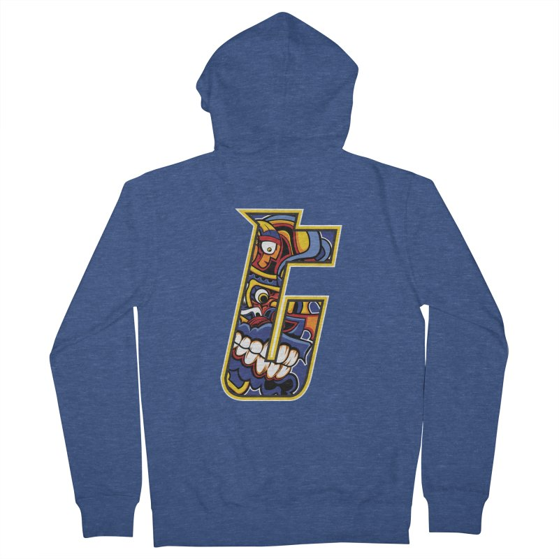Crazy Face_T004 Women's French Terry Zip-Up Hoody by Art of Yaky Artist Shop