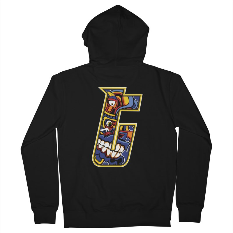 Crazy Face_T004 Men's French Terry Zip-Up Hoody by Art of Yaky Artist Shop
