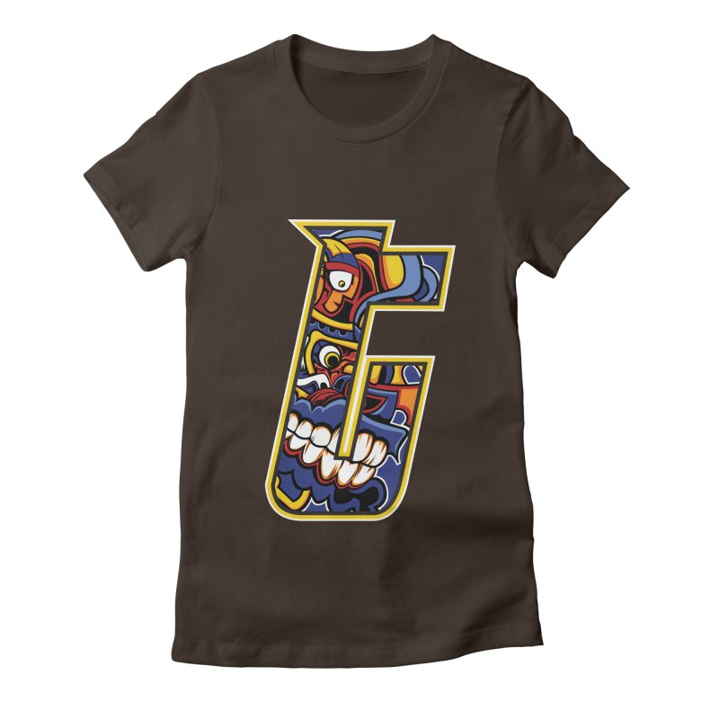 Crazy Face_T004 Women's Fitted T-Shirt by Art of Yaky Artist Shop