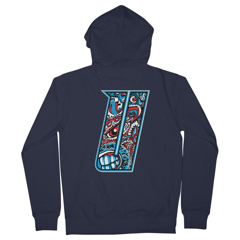 Crazy Face_U001 Men's French Terry Zip-Up Hoody by Art of Yaky Artist Shop