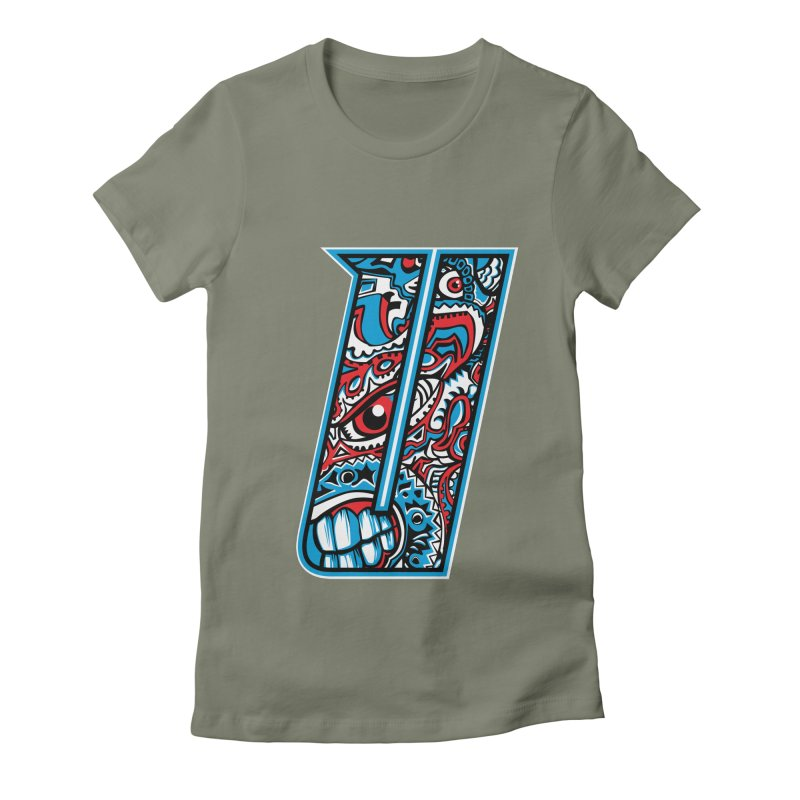 Crazy Face_U001 Women's Fitted T-Shirt by Art of Yaky Artist Shop