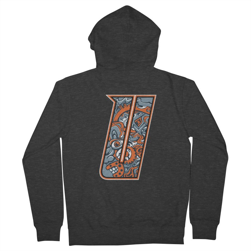 Crazy Face_U002 Men's French Terry Zip-Up Hoody by Art of Yaky Artist Shop
