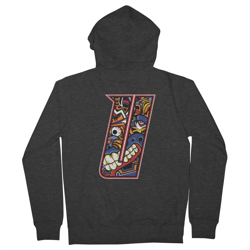Crazy Face_U003 Men's French Terry Zip-Up Hoody by Art of Yaky Artist Shop