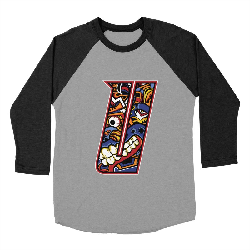 Crazy Face_U003 Women's Baseball Triblend Longsleeve T-Shirt by Art of Yaky Artist Shop