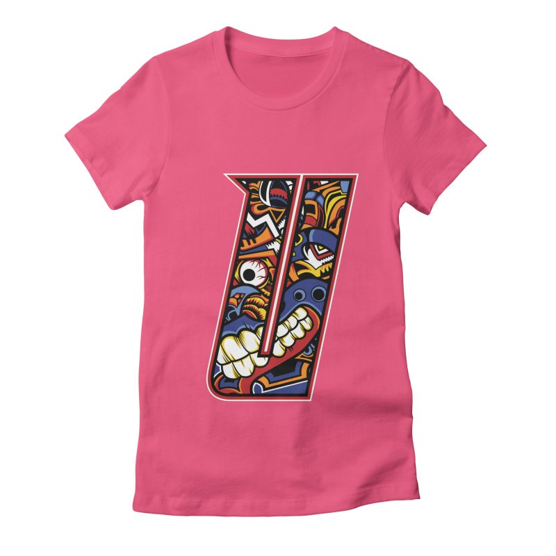Crazy Face_U003 Women's Fitted T-Shirt by Art of Yaky Artist Shop