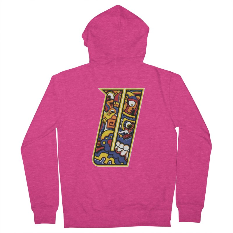 Crazy Face_U004 Women's French Terry Zip-Up Hoody by Art of Yaky Artist Shop