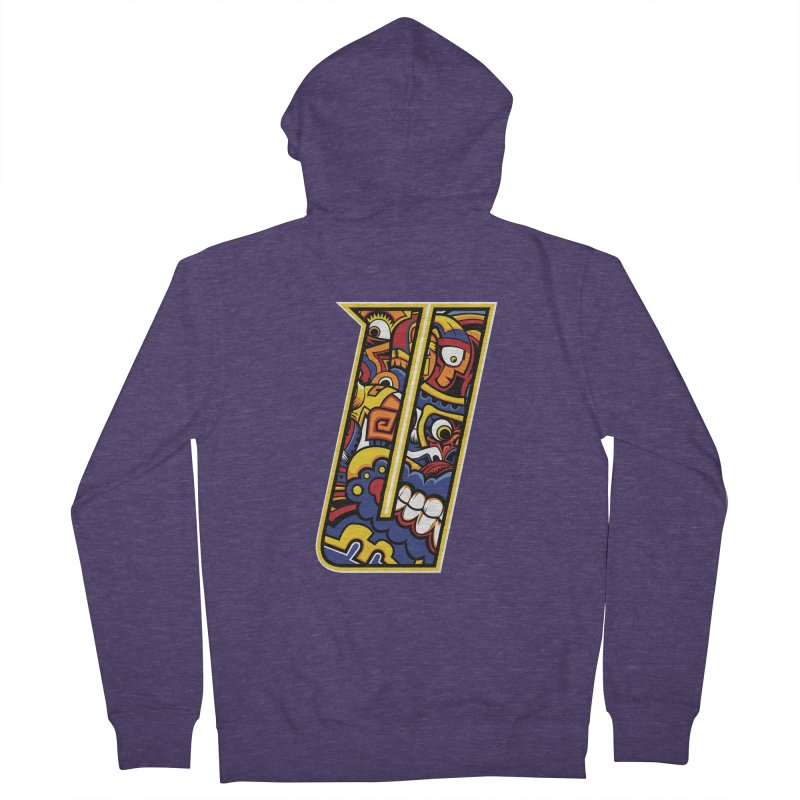 Crazy Face_U004 Men's French Terry Zip-Up Hoody by Art of Yaky Artist Shop