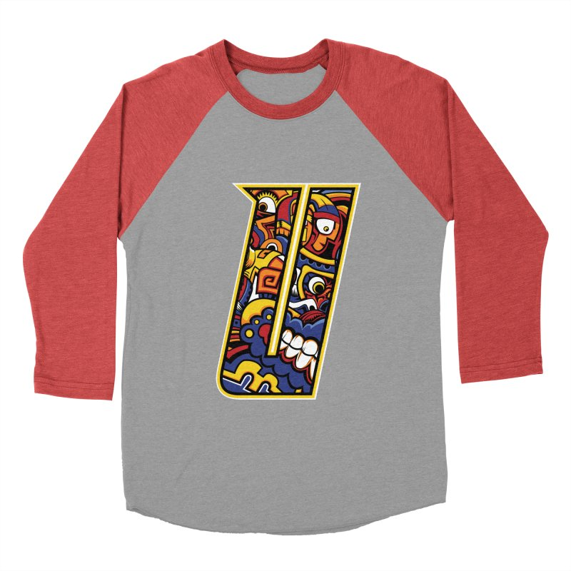 Crazy Face_U004 Women's Baseball Triblend Longsleeve T-Shirt by Art of Yaky Artist Shop