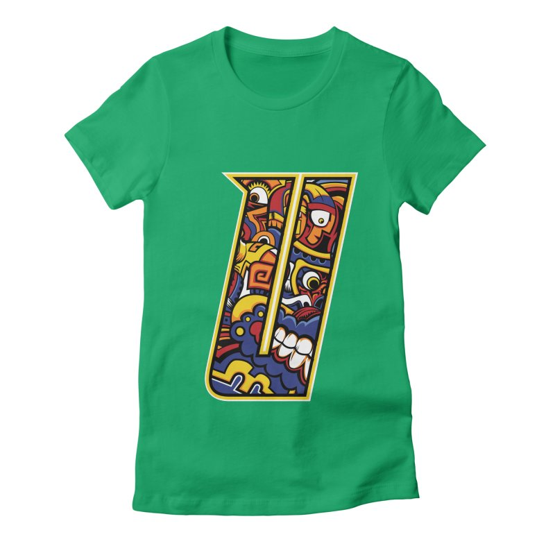 Crazy Face_U004 Women's Fitted T-Shirt by Art of Yaky Artist Shop
