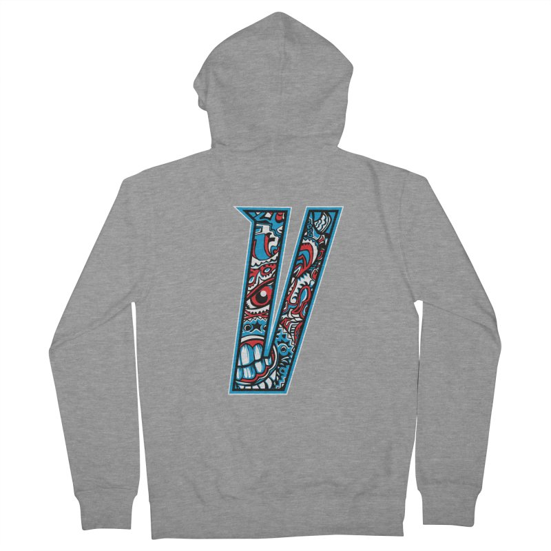 Crazy Face_V001 Men's French Terry Zip-Up Hoody by Art of Yaky Artist Shop