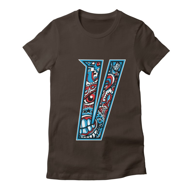 Crazy Face_V001 Women's Fitted T-Shirt by Art of Yaky Artist Shop