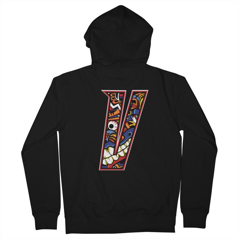 Crazy Face_V003 Women's French Terry Zip-Up Hoody by Art of Yaky Artist Shop