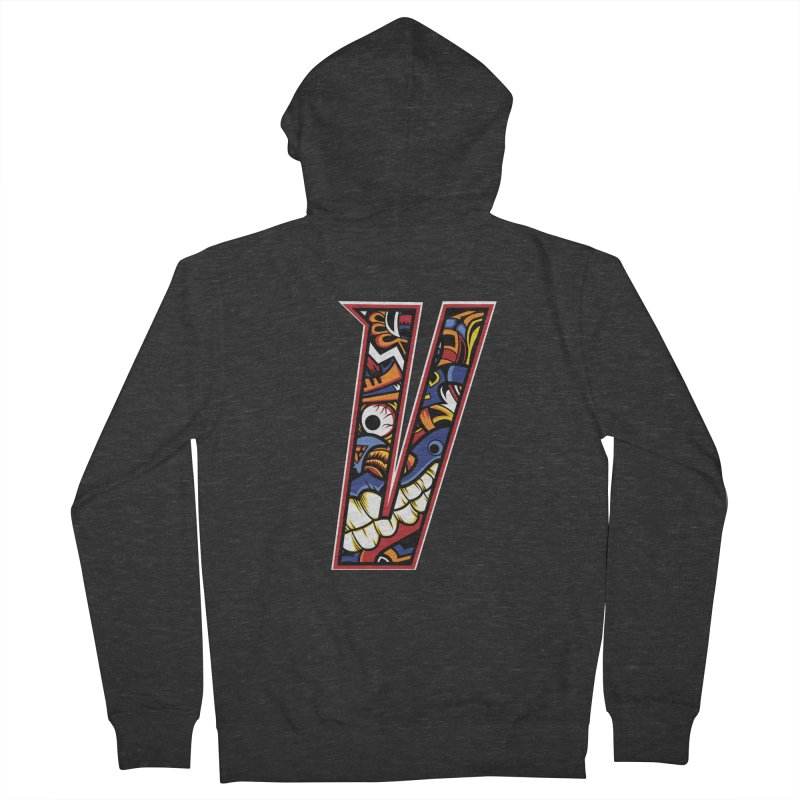 Crazy Face_V003 Men's French Terry Zip-Up Hoody by Art of Yaky Artist Shop