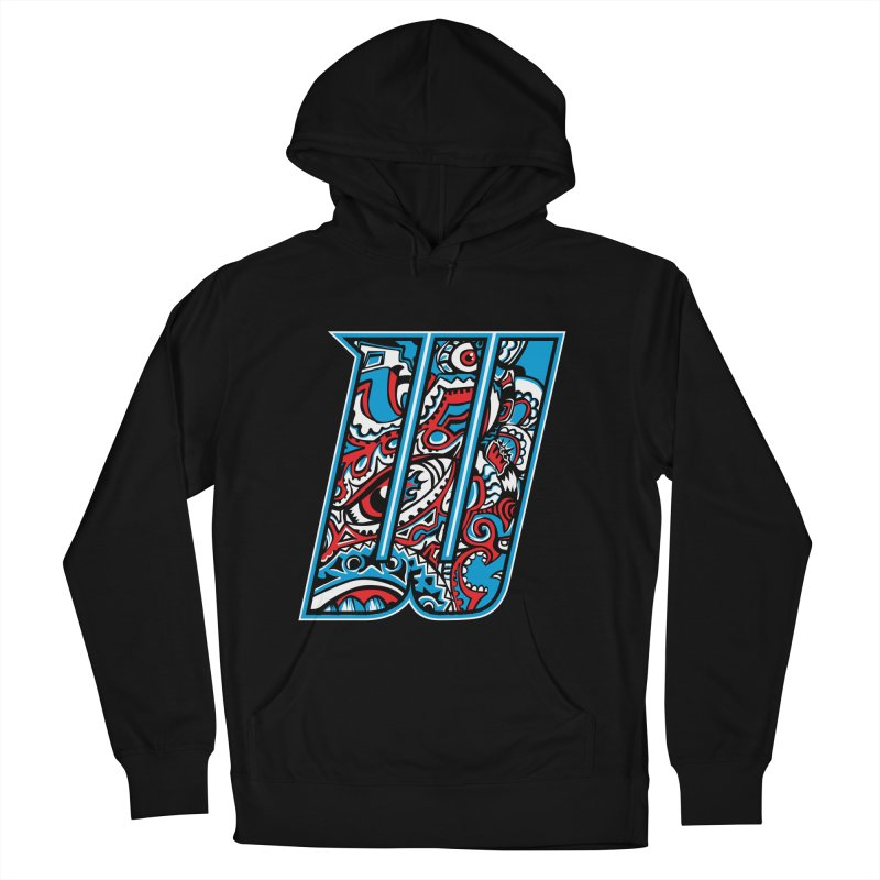 Crazy Face_W001 Women's French Terry Pullover Hoody by Art of Yaky Artist Shop